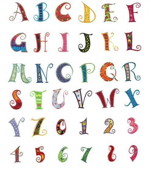 Curly Q machine applique embroidery font