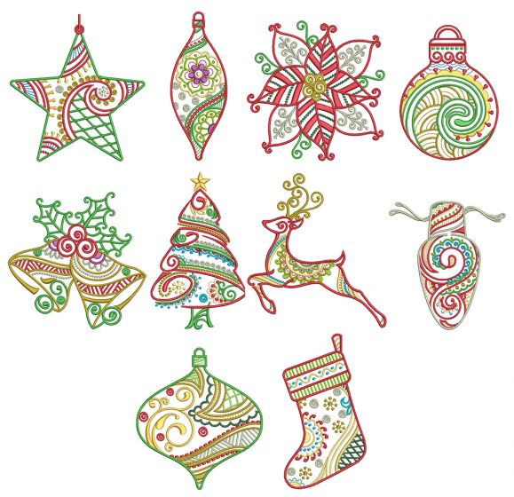 Mehndi Christmas Machine Embroidery Designs by JuJu