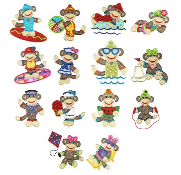 Summer sock monkeys applique machine embroidery designs