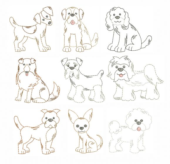 Top Dogs Vintage Stitch Machine Embroidery Designs by JuJu