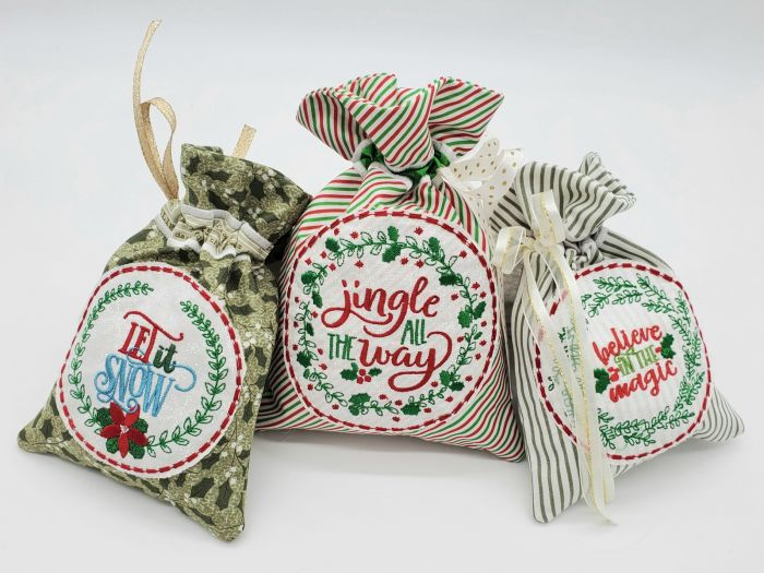 ITH Christmas Wreath Gift Bags 1 Digital Embroidery Machine Designs by JuJu