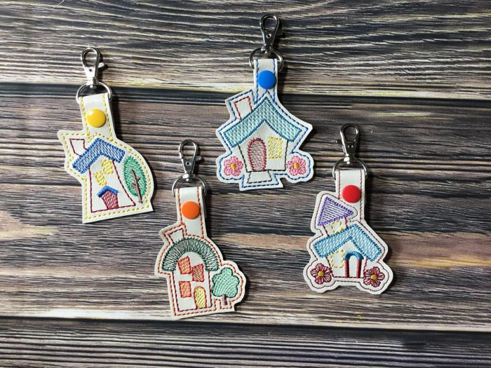 In the Hoop Little House Key Fobs Set Designs by JuJu Machine Embroidery Designs