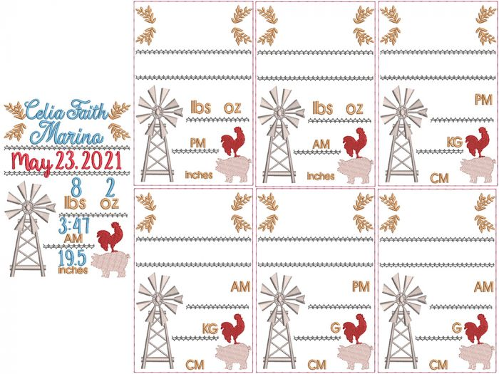 Farm Life Birth Announcement Template Embroidery Design