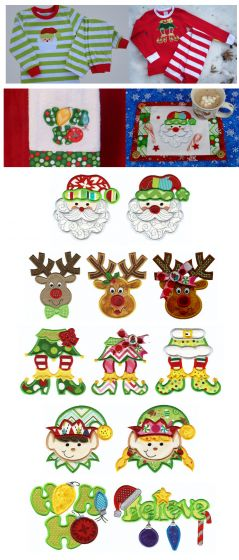Cute Christmas Applique machine embroidery designs with elf feet, santa, reindeer, and ho ho ho