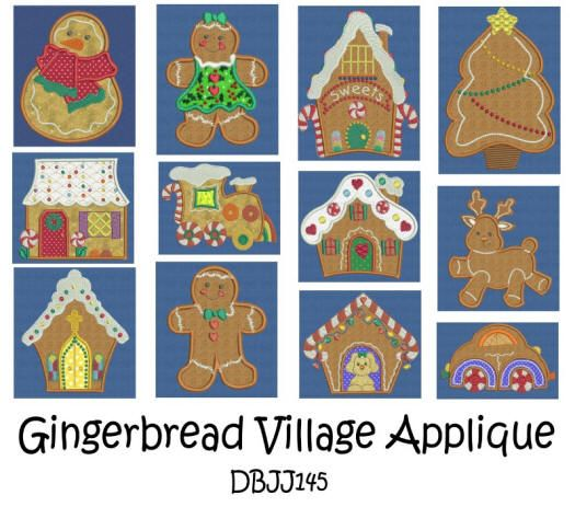 Gingerbread Village Applique 5x7