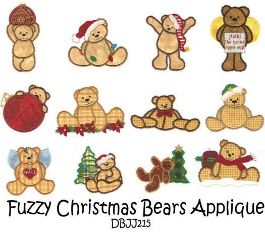 Fuzzy Christmas Teddy Bear Applique 5x7