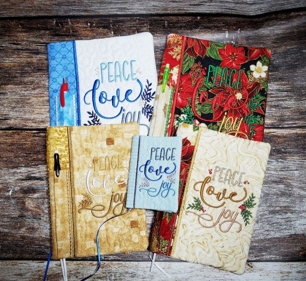 Designs by JuJu Machine Embroidery Designs In The Hoop Christmas Notebook Covers Peace Love Joy