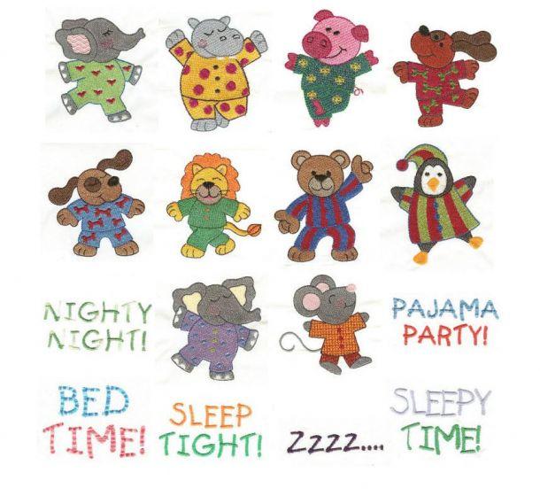 pajama party animals in jammies pajama time machine embroidery designs