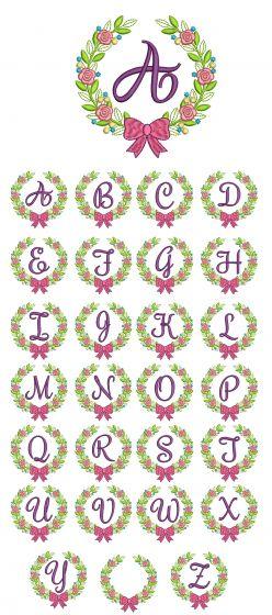 Laurel Wreath Monogram Machine Embroidery Designs by JuJu
