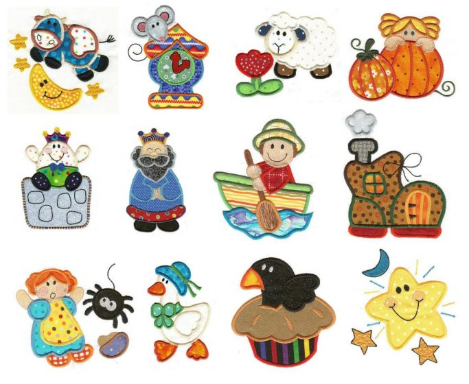 Mother goose nursery rhymes applique machine embroidery designs