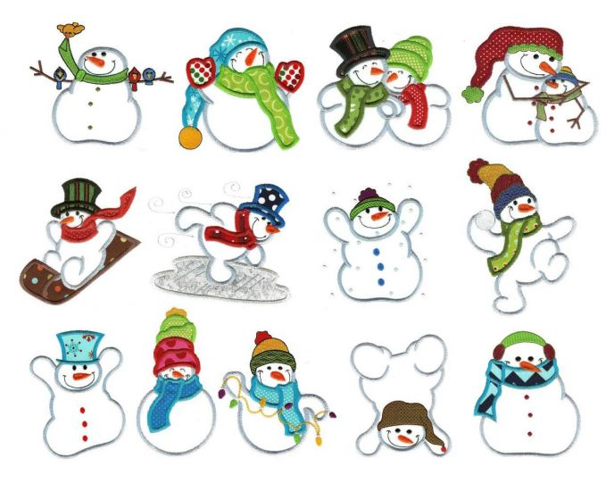 Simple snowman applique machine embroidery designs for winter