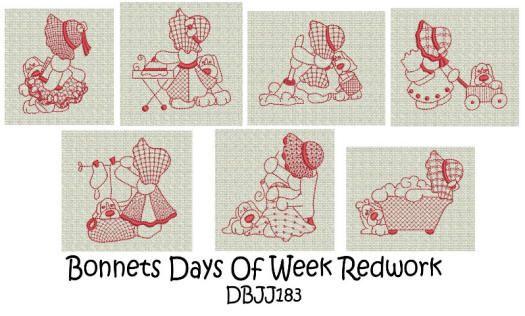 Sunbonnet Sue Days of the Week Redwork