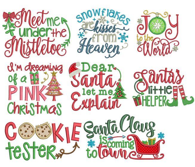 Christmas Word Art Set 3 Machine Embroidery Designs by JuJu