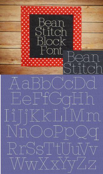 Embroidery Bean Stitch Block Font Designs by JuJu