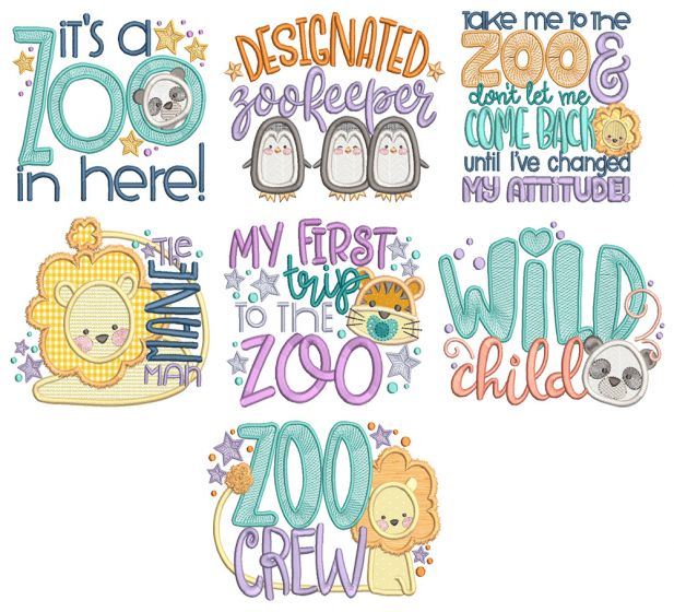 Zoo Word Art 1 Machine Embroidery Designs By JuJu
