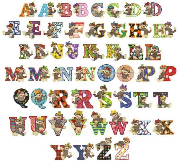 Sock monkeys applique alphabet font jumbo machine embroidery designs