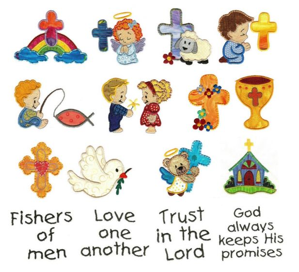 Wee worship applique machine embroidery designs