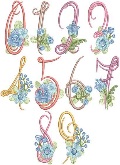 Swirly Flower Numbers Digital Machine Embroidery Designs by JuJu