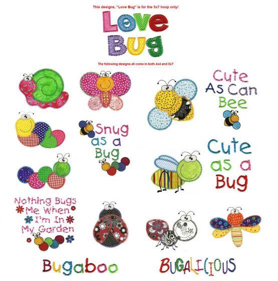 Cute applique bugs machine embroidery designs bugalicious