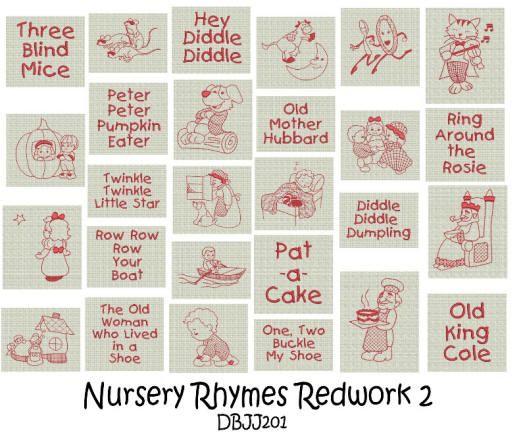 Nursery Rhymes Redwork 2