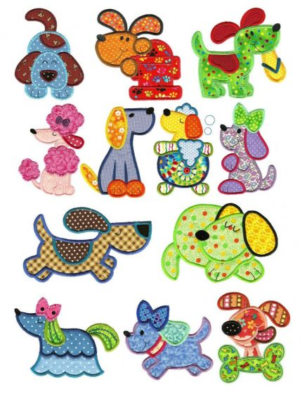 Crazy dogs applique machine embroidery designs