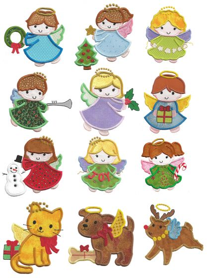Little Christmas Angels Applique Designs by JuJu