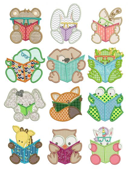 Reading Critters Applique Machine Embroidery Designs by JuJu