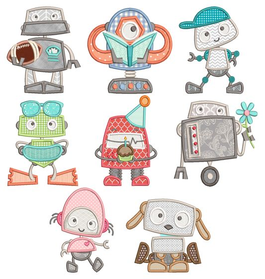Cute Robots Applique Machine Embroidery Designs By JuJu