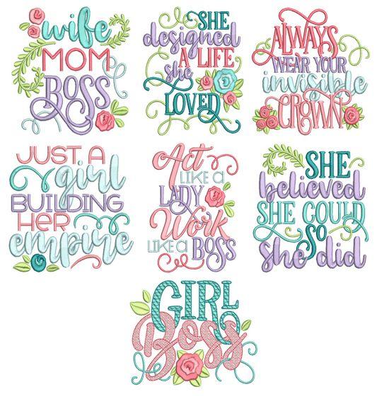 Girl Boss Word Art Machine Embroidery Designs By JuJu