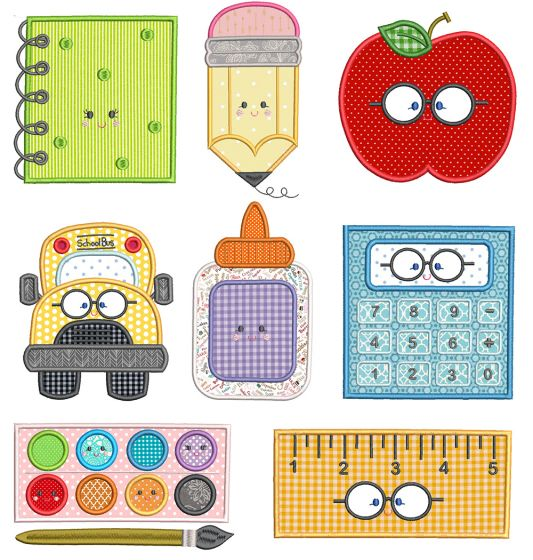 School Sweet School Applique Machine Embroidery Designs By JuJu