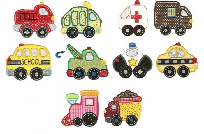 Cute towtruck, dumptruck, ambulance, and firetruck applique machine embroidery designs