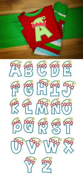 Elf Hat Applique Alphabet Machine Embroidery Designs by JuJu