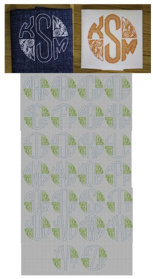 Three Letter Deco Bean Stitch Circle Monogram Designs by JuJu Machine Embroidery Designs