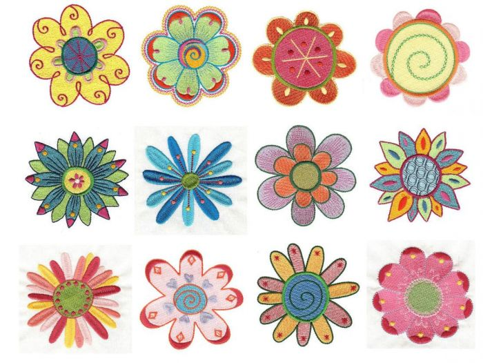 Funky whimsical garden flowers filled machine embroidery designs