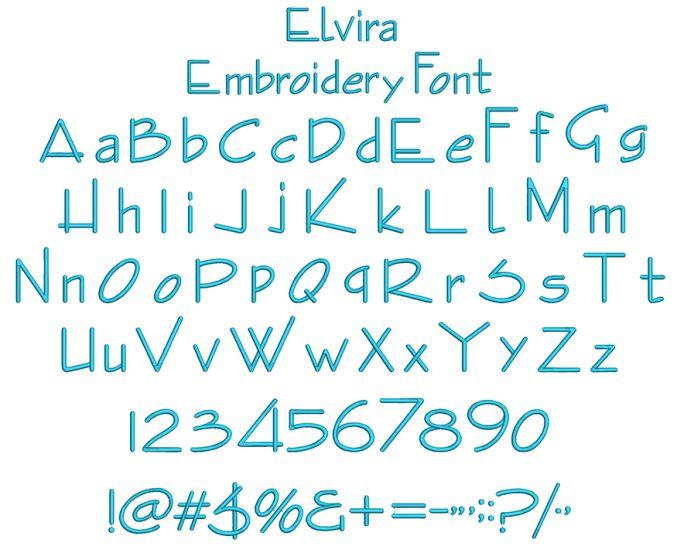 Elvira Embroidery Font