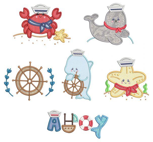 Sweet Nautical 4 Machine Embroidery Designs By JuJu