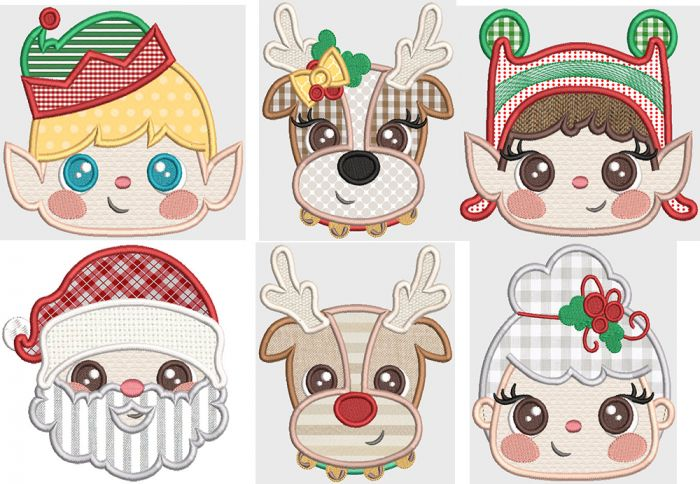 Christmas Hooded Towel Peeker Applique Machine Embroidery Designs by JuJu