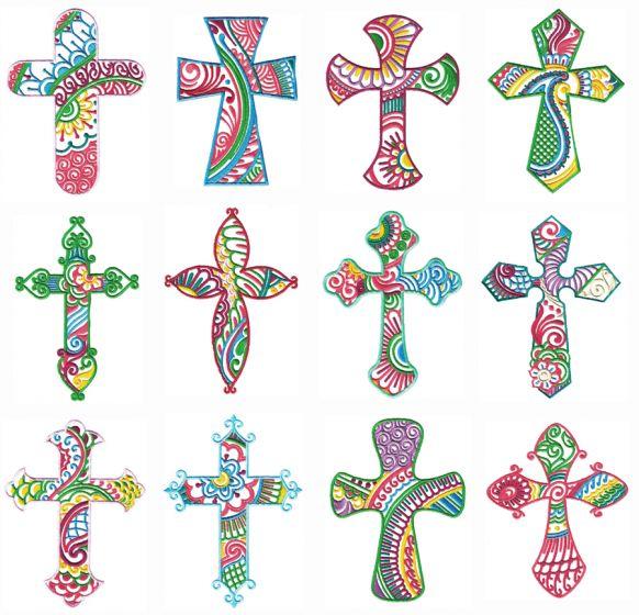 Mehndi Crosses Machine Embroidery Designs by JuJu