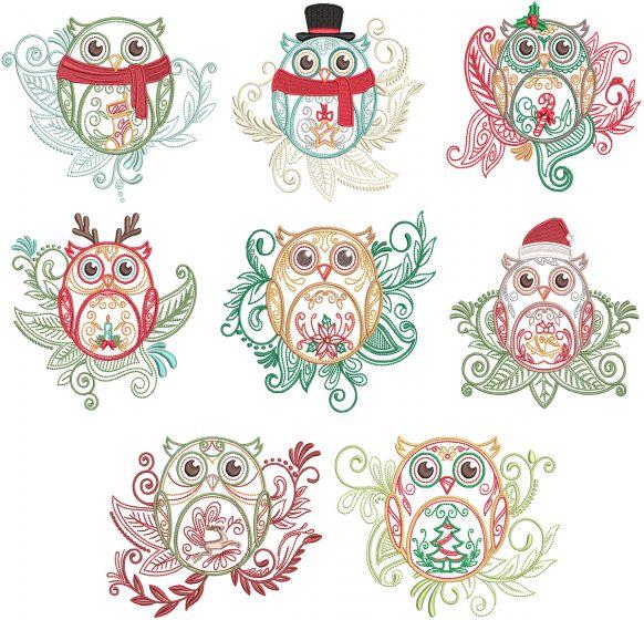 Mehndi Christmas Owls