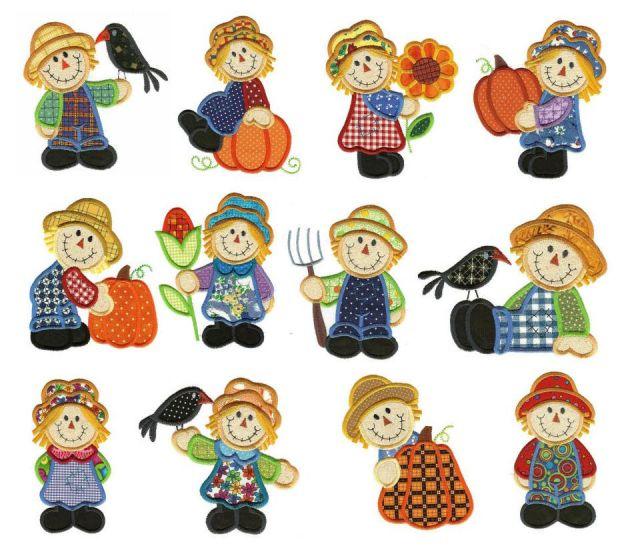 Scarecrows autumn applique machine embroidery designs