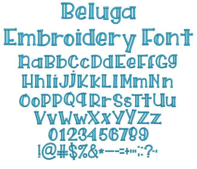 Beluga Embroidery Font