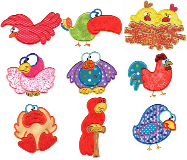 Silly Birds Applique Machine Embroidery Designs by JuJu