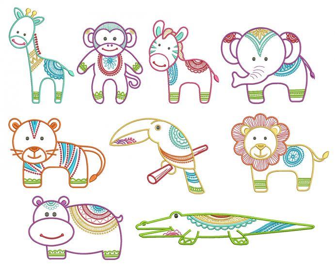 Mehndi Jungle Animals Machine Embroidery Designs by JuJu