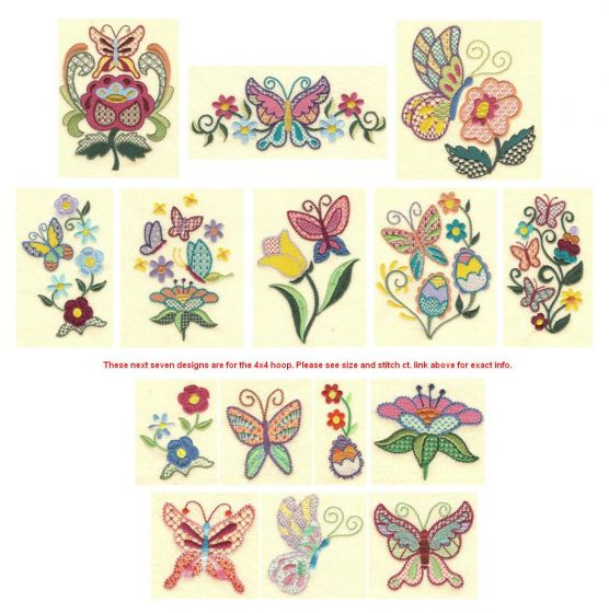 Jacobean butterflys machine embroidery designs