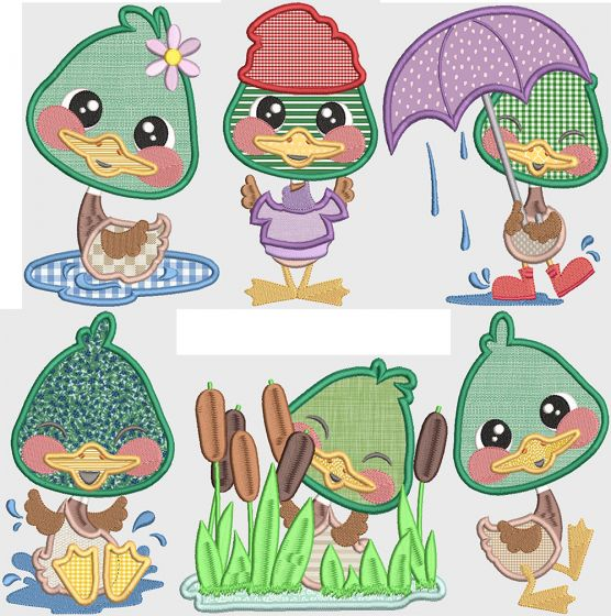 Darling Ducks Applique Digital Machine Embroidery Designs by JuJu