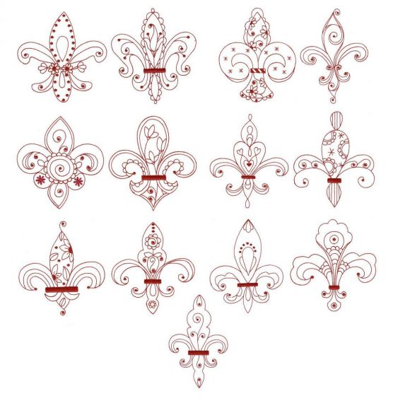 Fleur de lis redwork machine embroidery designs