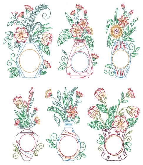 Vintage Floral Monogram Vases 2