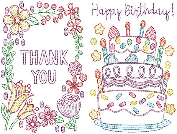 Greeting Cards Set 1 Digital Machine Embroidery Designs for cardstock by Designs by JuJu