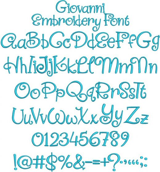 Giovanni Embroidery Font Machine Embroidery Designs by JuJu