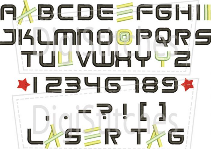 Laser Tag Embroidery Font